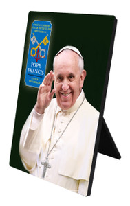 Pope Francis Waving Commemorative Apostolic Journey Desk Plaque