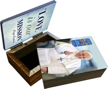 Pope Francis Thumbs Up Commemorative Apostolic Journey Keepsake Box