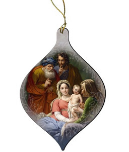 Holy Family with Grandparents Joachim and Anne Wood Ornament