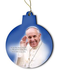 Pope Francis Visit Washington D.C. Round Wood Ornament