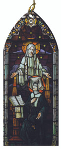 Our Lady of the Miraculous Medal and St. Catherine Laboure Stained Glass Wood Ornament