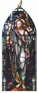 Risen Christ Stained Glass Wood Ornament