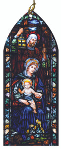 St. Joseph Guiding Jesus and Mary Stained Glass Wood Ornament