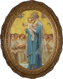 Madonna and Child by Enric M. Vidal Framed Oval Canvas