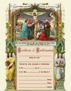 Traditional Confirmation Sacrament Certificate with Crucifxion Unframed