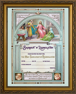 Traditional First Reconciliation Sacrament of Confession Certificate in Gold Frame