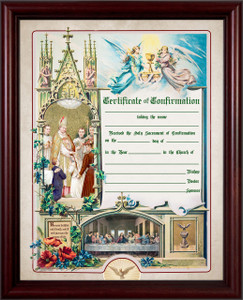 Traditional Confirmation Sacrament Certificate in Cherry Frame