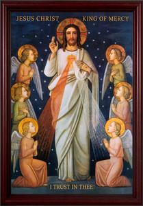 King of Divine Mercy Cherry Framed Art