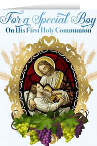 Christ and Child First Communion Boy Greeting Card