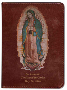 Personalized Catholic Bible with Our Lady of Guadalupe Cover - Burgundy RSVCE