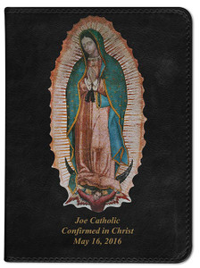 Personalized Catholic Bible with Our Lady of Guadalupe Cover - Black NABRE