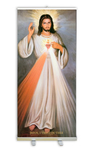 Divine Mercy with Sacred Heart Banner Stand