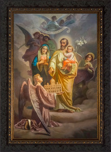 Joseph, Patron of the Church Canvas - Ornate Dark Framed Art