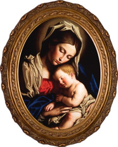 Madonna and Her Child Canvas - Oval Framed Art