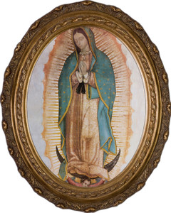Our Lady of Guadalupe Canvas - Oval Framed Art