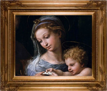 Madonna della Rosa (Detail) Canvas - Gold Museum Framed Art