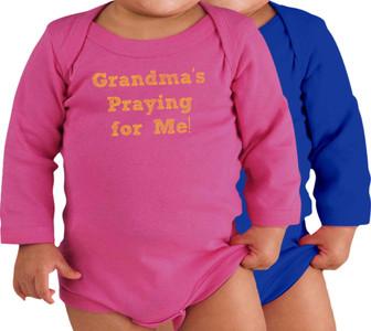 Grandma's Praying for Me! Long-Sleeve Baby Onesie