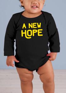 A New Hope Long-Sleeve Black Baby Onesie