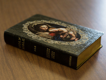 Personalized Catholic Bible with Madonna and Her Child Cover - Black Genuine Leather NABRE