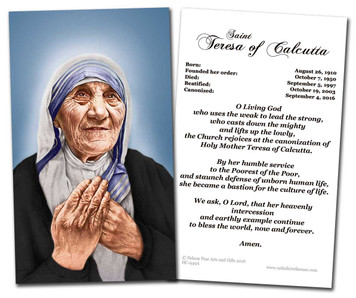 St. Teresa of Calcutta Canonization Prayer Card