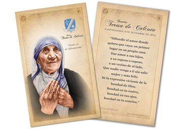 SPANISH St. Teresa of Calcutta Commemorative Quote Holy Card