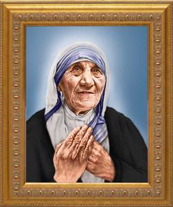 St. Teresa of Calcutta Canonization Portrait: Ornate Gold Frame