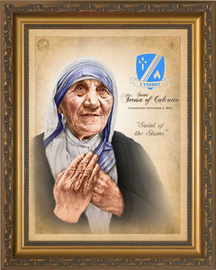 St. Teresa of Calcutta Commemorative Portrait - Gold Framed Art