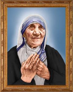 St. Teresa of Calcutta Canonization Portrait - Simple Gold Framed Art