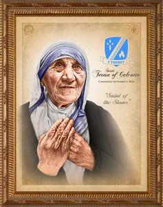 St. Teresa of Calcutta Commemorative Portrait - Simple Gold Framed Art