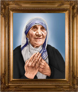 St. Teresa of Calcutta Canonization Portrait Canvas - Gold Museum Frame