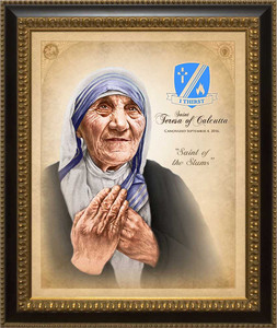 St. Teresa of Calcutta Canvas Commemorative Portrait: Ornate Black and Gold Frame