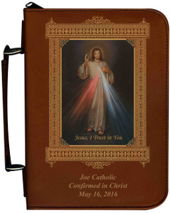 Personalized Bible Cover with Divine Mercy Graphic - Tawny