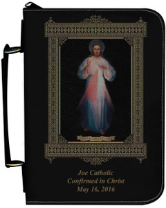Personalized Bible Cover with Divine Mercy Vilnius Original Graphic - Black