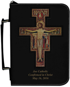 Personalized Bible Cover with San Damiano Cross Graphic - Black