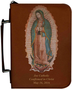 Personalized Bible Cover with Our Lady of Guadalupe Graphic - Tawny
