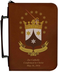 Personalized Bible Cover with Ancient Carmelite Crest Graphic - Tawny