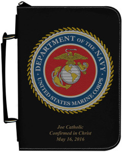 Personalized Bible Cover with Marine Graphic - Black