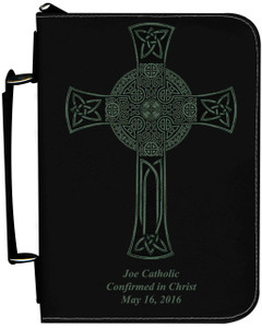 Personalized Bible Cover with Celtic Cross Graphic - Black