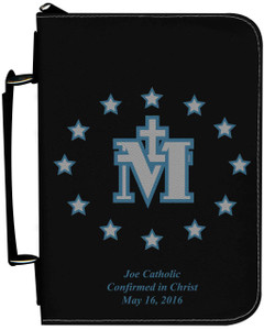 Personalized Bible Cover with Miraculous Medal Graphic - Black