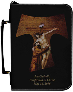 Personalized Bible Cover with St. Francis Tau Cross Graphic - Black