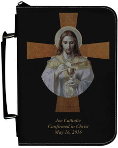 Personalized Bible Cover with Bread of Angels Cross Graphic - Black