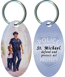The Protector: Police Guardian Angel Oval Keychain with Prayer to St. Michael