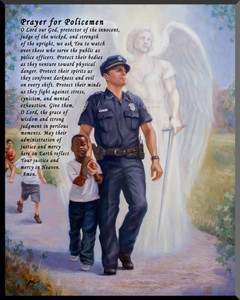 The Protector: Police Guardian Angel Wall Plaque with Prayer for Policemen