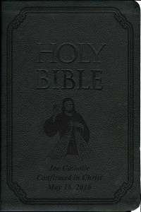 Laser Embossed Catholic Bible with Divine Mercy Cover - Black NABRE