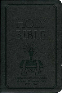 Laser Embossed Catholic Bible with Priest Cover - Black NABRE