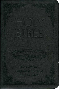 Laser Embossed Catholic Bible with Crown of Thorns Cover - Black NABRE