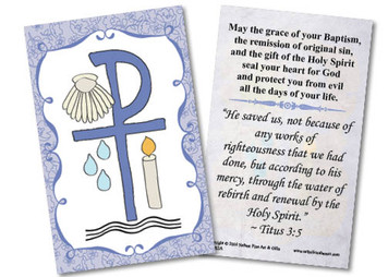 Baptismal Symbols Holy Card