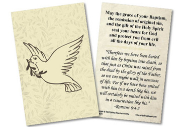 Dove Baptism Yellow Holy Card