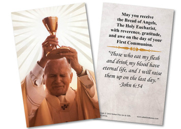 Pope Saint John Paul II First Communion Holy Card