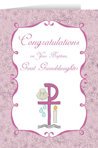 Great Granddaughter's Baptism Greeting Card